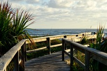 Boardwalk Entrance To The Beach St. Augustine, Florida At Early Morning