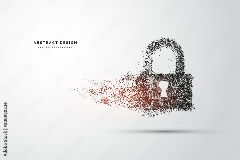 Fototapeta Points are connected and create a sign of the Cyber security concept lock. Technology and network concept. digital internet. Abstract background technology.Vector illustration