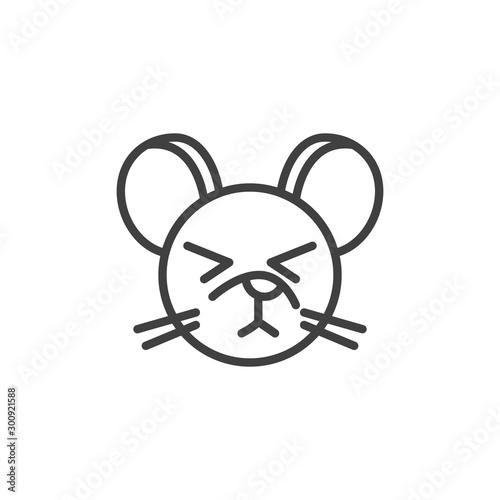 Dormant rat emoticon line icon Obraz na płótnie