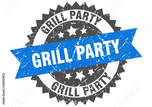 grill party grunge stamp with blue band. grill party Wallpaper Mural