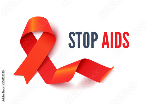 Poster Positive Typography AIDS and HIV awareness month banner vector template. Medical disease solidarity poster layout. Health care concern and ill people support campaign. Red silk ribbon illustration with typography