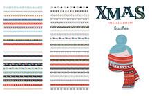 Seamless Christmas And Winter Pattern Brushes For Illustrator. Vector Design