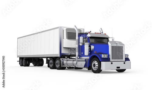 Generic American daily semi truck with refrigerated semi trailer from the front right side, photo realistic isolated 3D illustration on the white background Fototapet