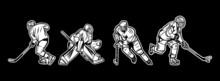 Illustration Ice Hockey Player Black And White Pack