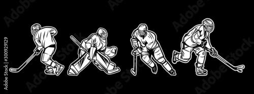 Obraz na płótnie illustration ice hockey player black and white pack