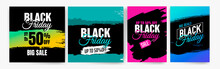 Banner Templates For Black Friday. Promotion Banner, Offer, Sale. Templates For Web Banners, Flyers, Poster. Colorful Background And Text.