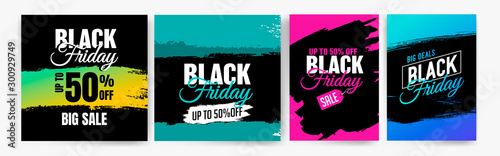 Fototapeta Banner templates for black friday. Promotion banner, offer, sale. Templates for web banners, flyers, poster. Colorful background and text. obraz