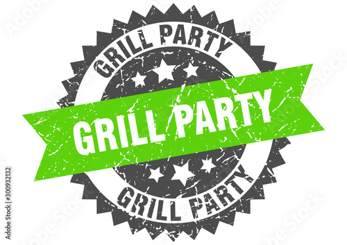 grill party grunge stamp with green band. grill party Wallpaper Mural