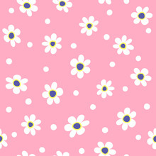 Cute Floral Seamless Pattern. Girlish Print With Flowers And Round Spots. Simple Vector Illustration.