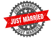 Just Married Grunge Stamp With Red Band. Just Married