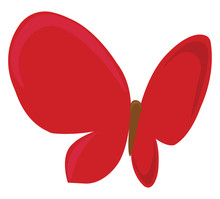 Red Butterfly, Illustration, Vector On White Background.