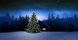 Leinwanddruck Bild - Gemütliche Holzhütte mit Weihachtsbaumin Wnterwald bei Nacht im Winter