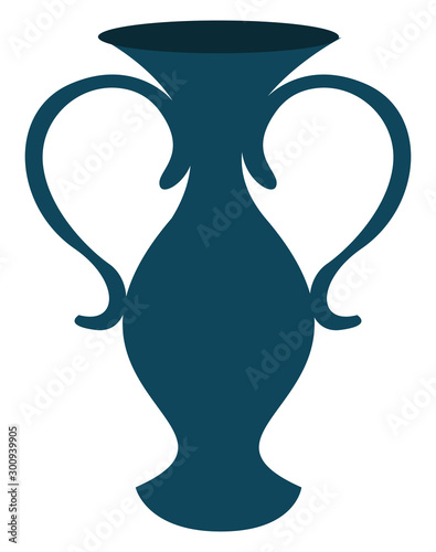 Dark blue vase, illustration, vector on white background. Canvas Print