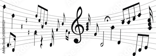 Silhouette of musical score with notes and G clef in middle Fototapet