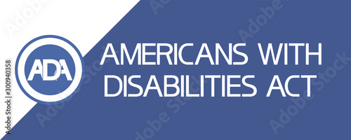 Americans with disabilities act (ADA) Text poster flat illustrative graphic image, blue and white colors Canvas Print
