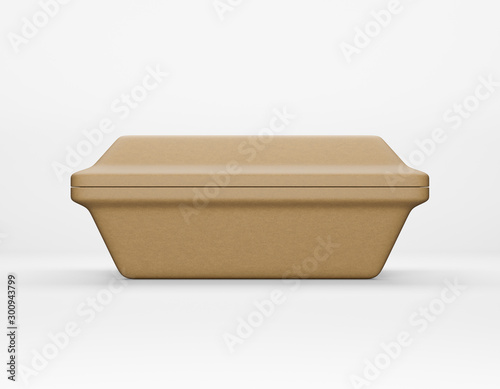 Eco packaging rectangular box kraft paper mockup on white background Wallpaper Mural