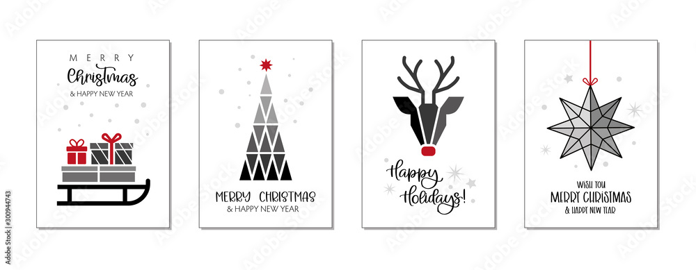 Fototapeta Set of christmas and happy new year greeting cards. Four Vector Illustrations postcards with lettering calligraphy decorative ornament elements
