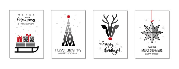 Set of christmas and happy new year greeting cards. Four Vector Illustrations postcards with lettering calligraphy decorative ornament elements