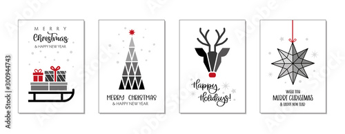 Fotografía Set of christmas and happy new year greeting cards