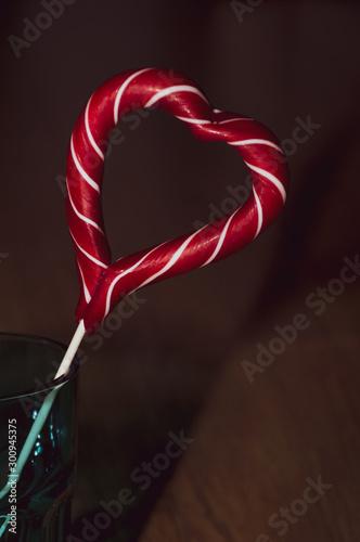 Fototapeta  red sweet heart on white background