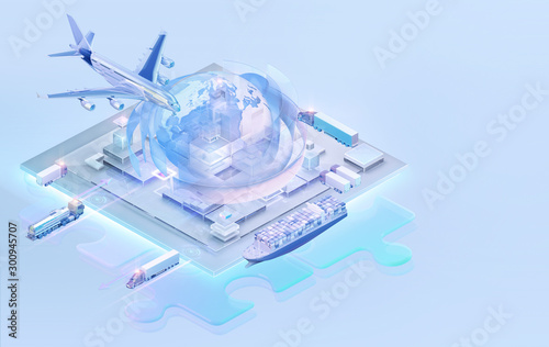 canvas print motiv - Corona Borealis : 3D isometric global cargo logistic web site background. Maritime, air shipping transport logistic, warehouse, import, export, trading, cargo international delivery, distribution isometric web concept
