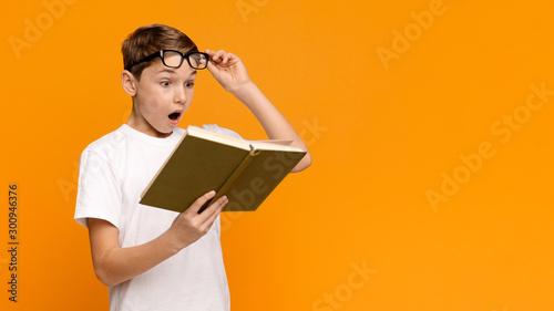 Emotional teenager reading bestseller science fiction book Fototapet