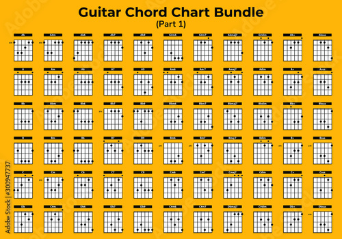 Photo Guitar Chart Bundle vector can you use for web, app, lesson, school etc