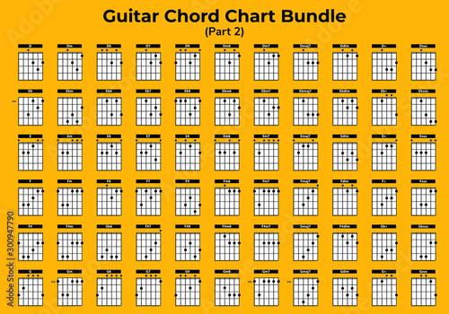 Guitar Chart Bundle vector can you use for web, app, lesson, school etc Tableau sur Toile