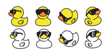 Duck Vector Icon Logo Rubber Duck Sunglasses Cartoon Character Illustration Bird Farm Animal Doodle Symbol Design