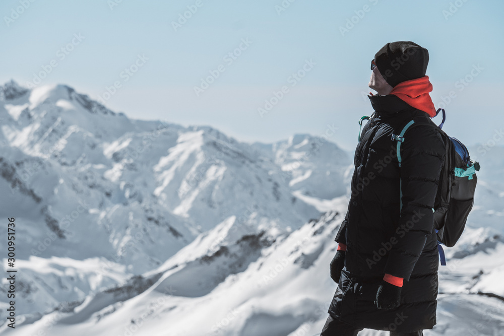 Fototapety, obrazy: man on mount elbrus russia