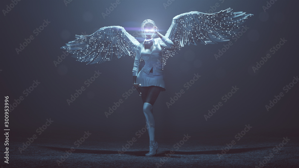 Fototapety, obrazy: Supernatural Being Angel with Wings Glasses and Knee Socks in a Foggy Void with Glowing Eyes and Lens Flare 3d Illustration 3d render