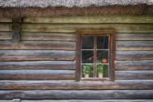 Background, Geranium Flowers In A Window In A Strom Log House With A Straw Roof