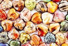 Many Gemstone Hearts Lie Together