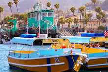 Colorful Water Taxi Boats Sit ...