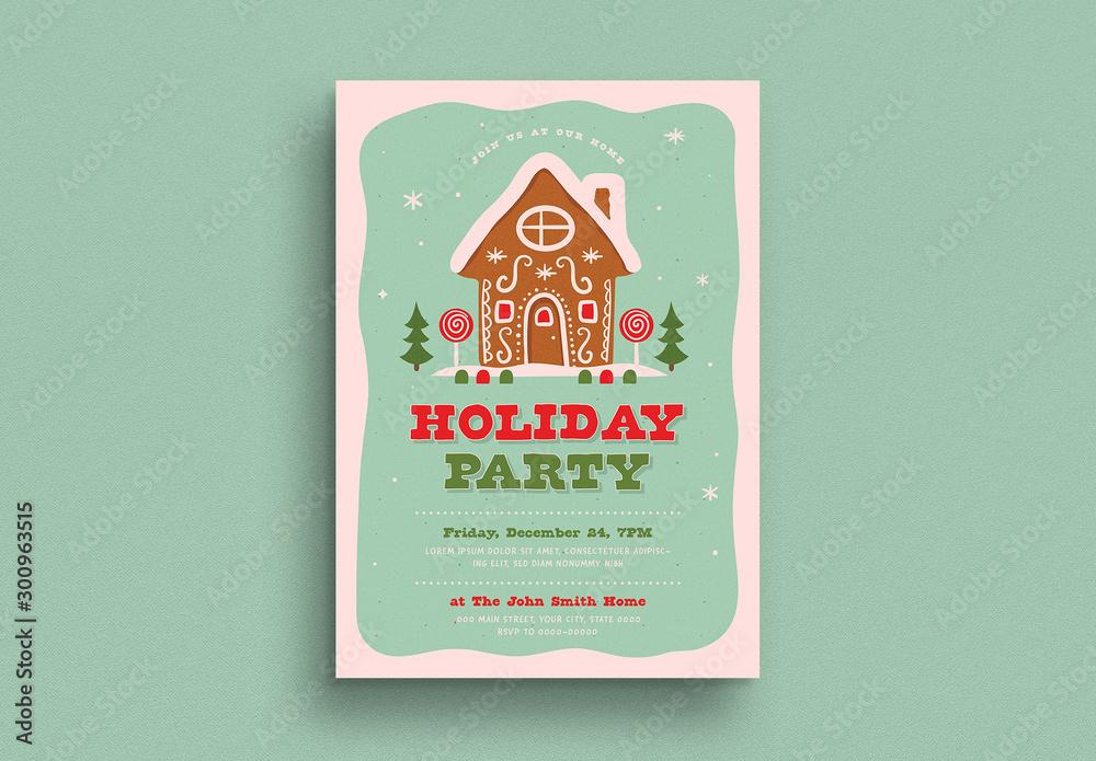 Fototapety, obrazy: Holiday Party Invitation Flyer Layout