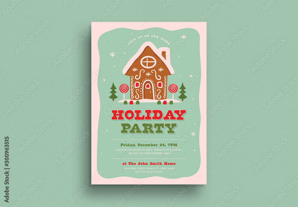 Fototapeta Holiday Party Invitation Flyer Layout