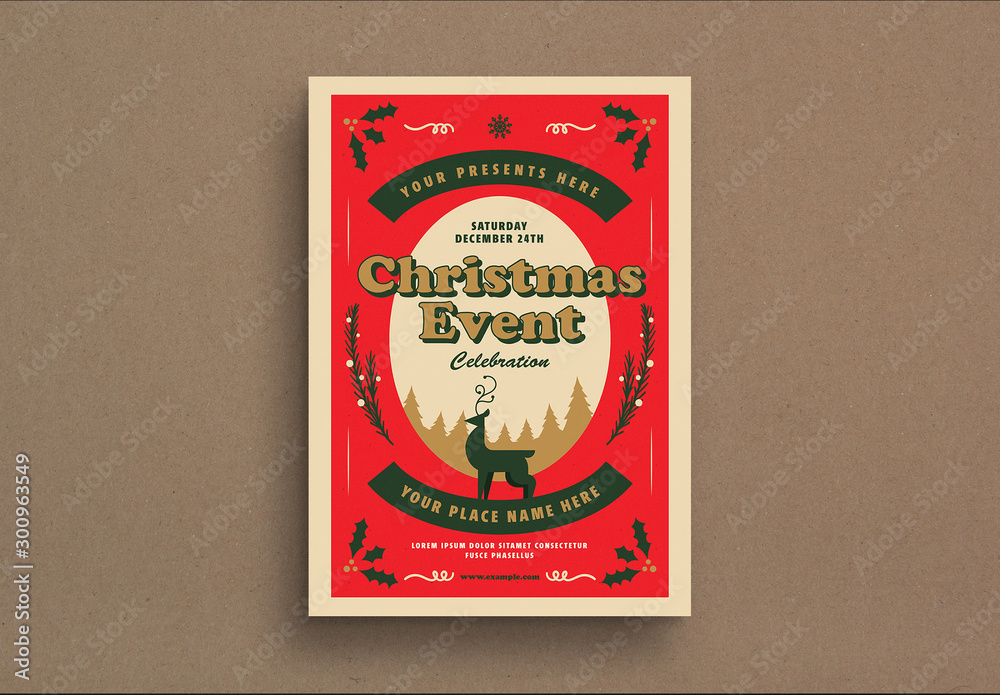 Fototapeta Retro Christmas Party Event Flyer Layout