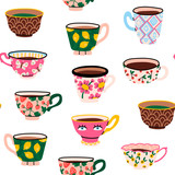 Set of various cups with tea or coffee. Side view. Different ornaments. Flowers, berries, etc Hand drawn colored trendy vector seamless pattern. Cartoon style. Flat design - 300965738