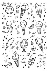 Set of doodle ice cream on white. Vector illustration. Perfect for dessert menu or food package design.