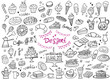 Set of doodle sweets food on white. Vector illustration. Cakes, biscuits, baking, cookie, pastries, donut, ice cream, macaroons, coffee. Perfect for dessert menu or food package design.