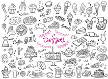 Set Of Doodle Sweets Food On W...
