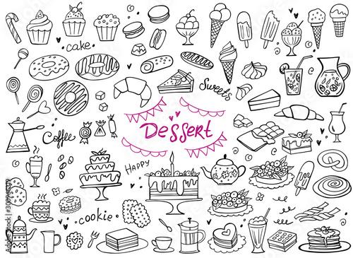 Fototapeta Set of doodle sweets food on white