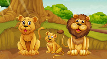 Scene With Lion Family In The ...