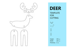Template For Laser Cutting, Wood Carving, Paper Cut. Silhouette Of Deer. Vector Illustration
