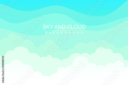 Wall Murals Green coral Sky and Clouds Background, with flat design, clean, fresh, stylish and modern design, suitable for poster, flyers, postcards, web banners and other