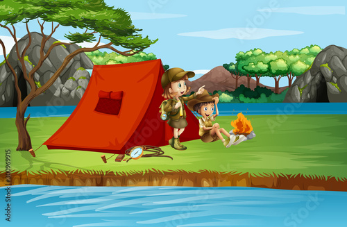 Photo sur Toile Jeunes enfants Scene with kids camping by the river
