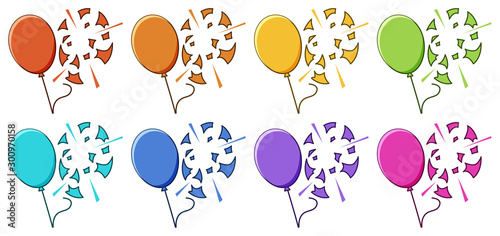 Photo Stands Kids Balloons popped on white background