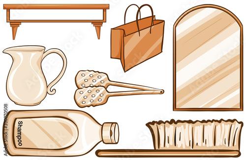 Montage in der Fensternische Kinder Household items in brown
