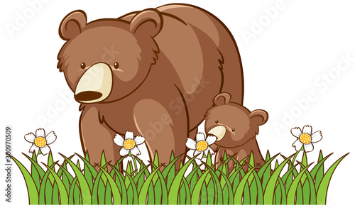 Photo sur Toile Jeunes enfants Isolated picture of grizzly bears in garden