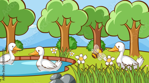 Papiers peints Jeunes enfants Scene with ducks in the park